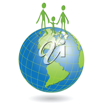 Royalty Free Clipart Image of People on a Globe