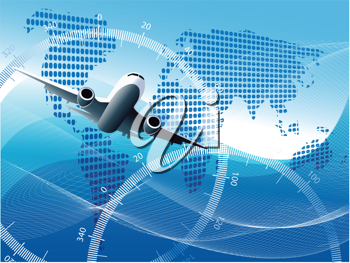 Royalty Free Clipart Image of an Airplane and Map