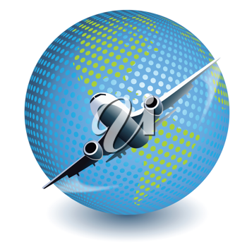Royalty Free Clipart Image of an Airplane and Globe