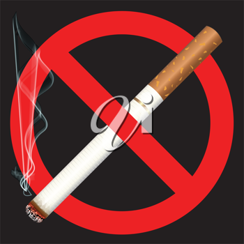 Royalty Free Clipart Image of a No Smoking Sign