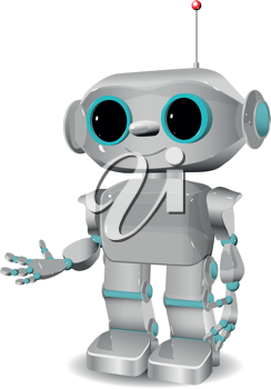 illustration of a cheerful robot with antennas