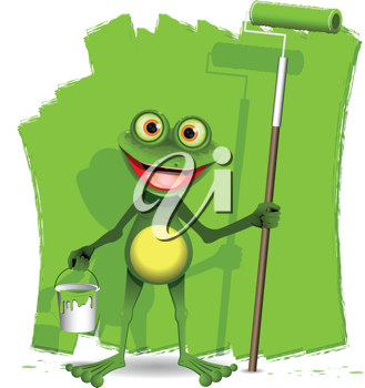 green frog with a roller to paint