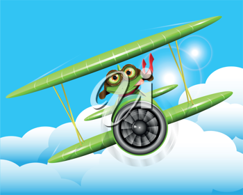 illustration merry green frog pilot in the plane