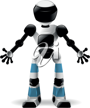 abstract illustration of a robot with black glass
