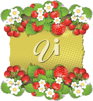 Royalty Free Clipart Image of a Background With Strawberries and Flowers
