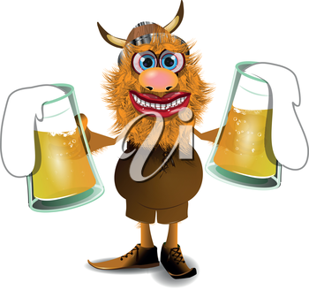 Royalty Free Clipart Image of a Viking Holding Two Beers
