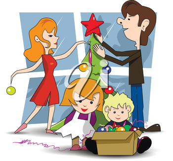 Illustration family decorates Christmas tree before the holiday