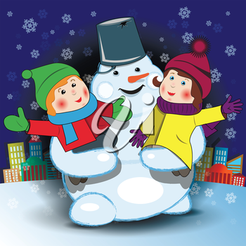 Illustration of a cheerful snowman with children in their arms