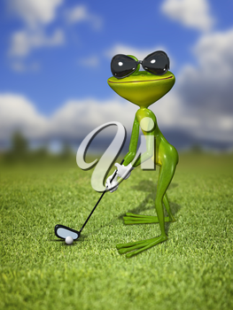 Illustration frog golfer on a green lawn