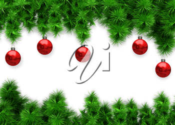 Illustration Background with Spruce and Red Balls on White Background