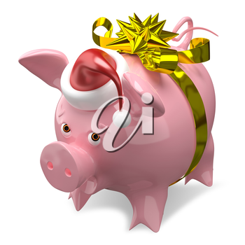 3D Illustration of a New Year Pig in a Cap with Bow on White Background