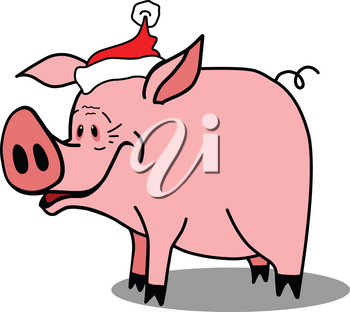 Stock Illustration Pig Symbol of New Year on a White Background