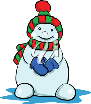 Stock Illustration Cute Snowman in a Hat on a White Background