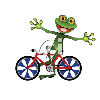 Stock Illustration Merry Frog on a Bicycle on a White Background