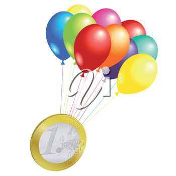 Royalty Free Clipart Image of a Euro Cone Tied to Balloons