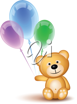 Royalty Free Clipart Image of a Teddy Bear Holding Balloons