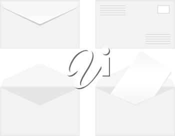Royalty Free Clipart Image of Blank Envelopes