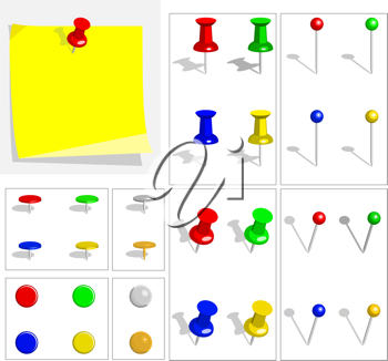 Royalty Free Clipart Image of Post It Notes and Pushpins