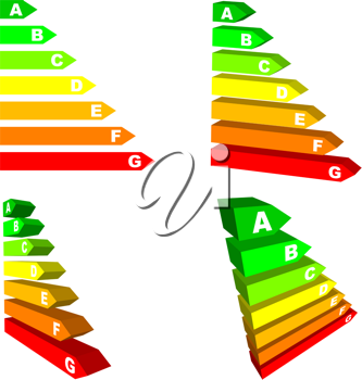 Royalty Free Clipart Image of Energy Efficiency Scales