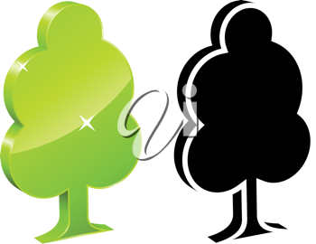 Royalty Free Clipart Image of Two Tree Icons