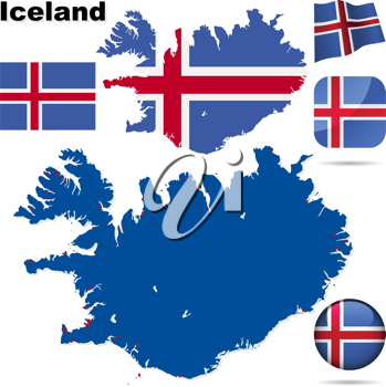 Royalty Free Clipart Image of Maps and Flags of Iceland