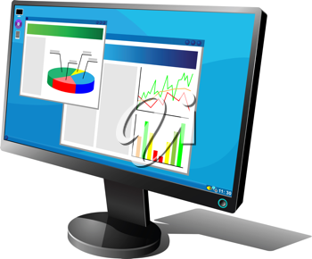 Royalty Free Clipart Image of a Computer Monitor