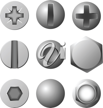 Royalty Free Clipart Image of Screws, Bolts and Rivets