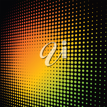 Abstract colorful halftone background with copy space.
