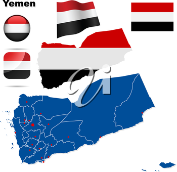 Yemen vector set. Detailed country shape with region borders, flags and icons isolated on white background.