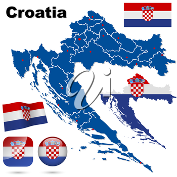 Croatia vector set. Detailed country shape with region borders, flags and icons isolated on white background.