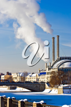 Royalty Free Photo of a Factory with Chimneys and White Smoke in Moscow