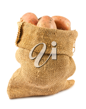Royalty Free Photo of Ripe Potatoes in a Burlap Sack