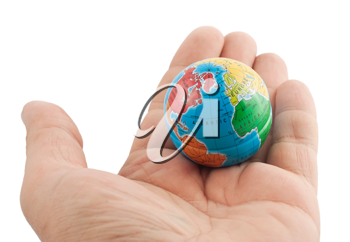 Royalty Free Photo of a Small Globe in the Palm of a Hand