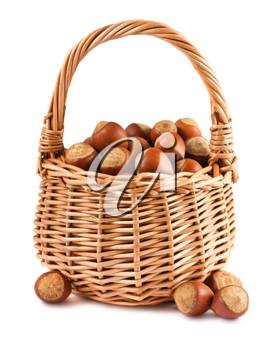 Royalty Free Photo of a Wicker Basket with a Collection of Hazelnuts