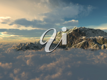 Royalty Free Clipart Image of a Mountain View