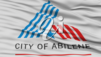 Closeup of Abilene City Flag, Waving in the Wind, Texas State, United States of America