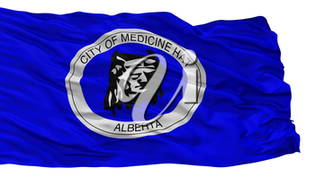 Medicine Hat City Flag, Country Canada, Alberta Province, Isolated On White Background, 3D Rendering