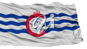 Isolated Cincinnati City Flag, City of Ohio State, Waving on White Background, High Resolution