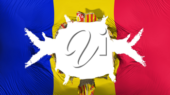 Andorra flag with a big hole, white background, 3d rendering