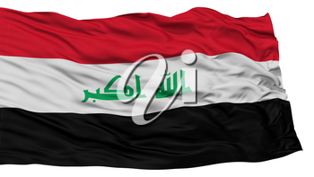Isolated Iraq Flag, Waving on White Background, High Resolution
