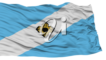 Isolated Madison Flag, Capital of Wisconsin State, Waving on White Background, High Resolution
