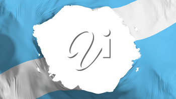 Broken Madison city, capital of Wisconsin state flag, white background, 3d rendering