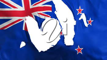 Ragged New Zealand flag, white background, 3d rendering