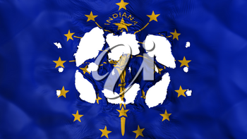 Holes in Indiana state flag, white background, 3d rendering
