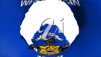 Big hole in Wisconsin state flag, white background, 3d rendering