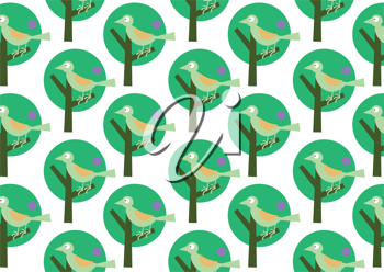 Royalty Free Clipart Image of Birds in Trees