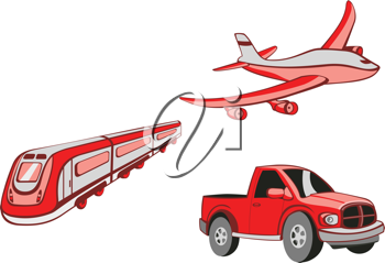 Royalty Free Clipart Image of an Airplane and Truck