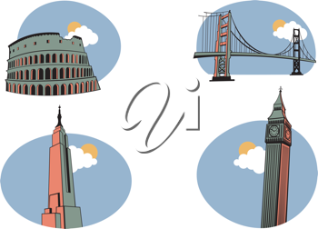 Royalty Free Clipart Image of World Travel Icons