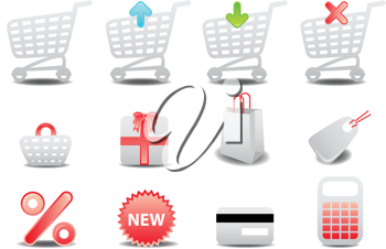 Royalty Free Clipart Image of Shopping Icons