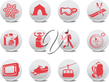 Royalty Free Clipart Image of Camping and Ski Icons